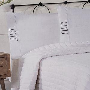 """NWT New Two Rae Dunn Pillowcases White """"Sleep"""""""
